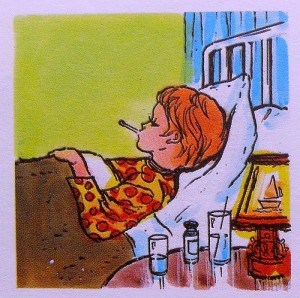 1960s Illustration Kid In Sick Bed