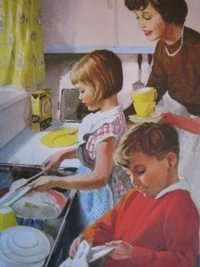We are helping to wash up