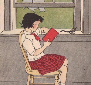 Jane was reading by the classroom window. ill by M. Davis