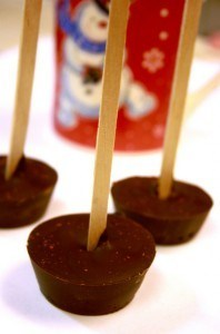 chili hot chocolate on a stick