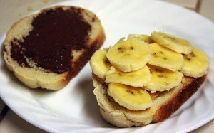 banana nutella PB sandwich