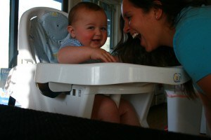 laughing with the baby