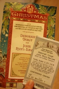 Concert ticket and program for the 2013 Mormon Tabernacle Choir Christmas Concert