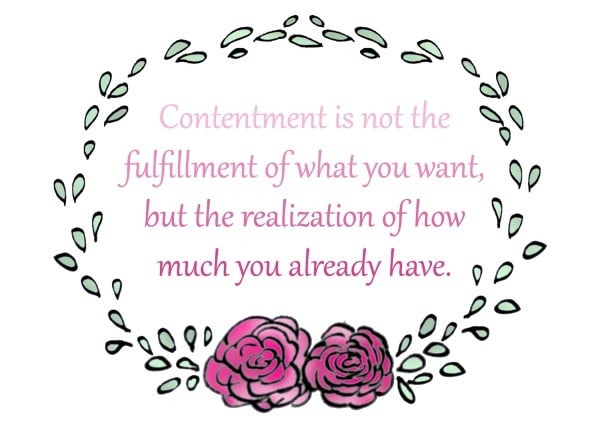 Contentment is not the fulfillment of what you want, but the realization of what you already have.