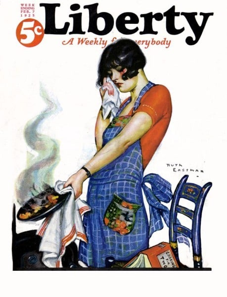Liberty magazine woman with apron holding burnt food