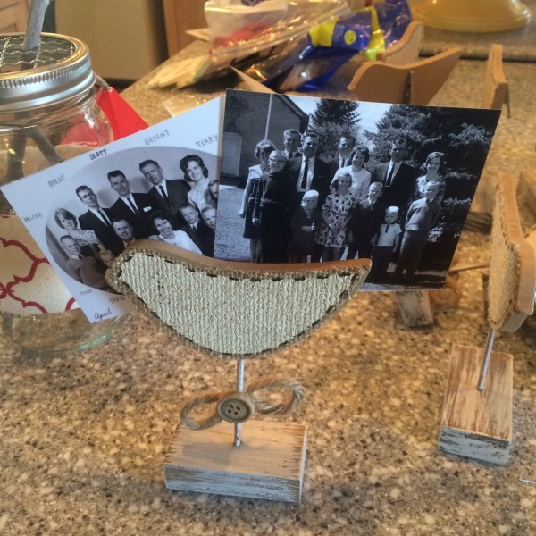 Make family puzzles by adhering pictures to 1/2 in mdf board and cutting out with a scroll saw.