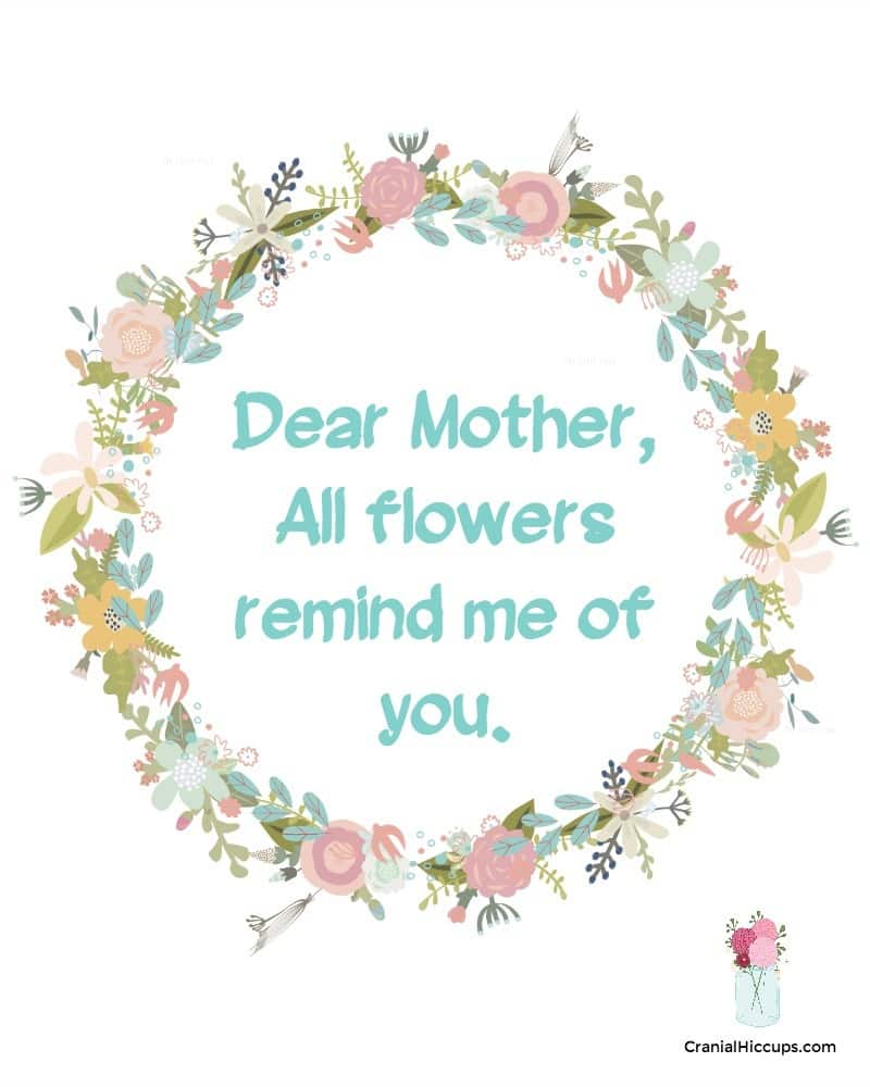 Dear Mother, all flowers remind me of you.
