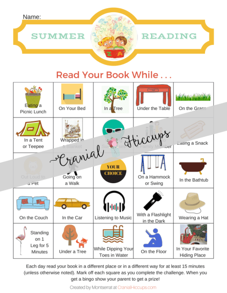 Summer Reading Chart - Keep kids busy reading this summer with this chart that tells them where or how to read their book each day.
