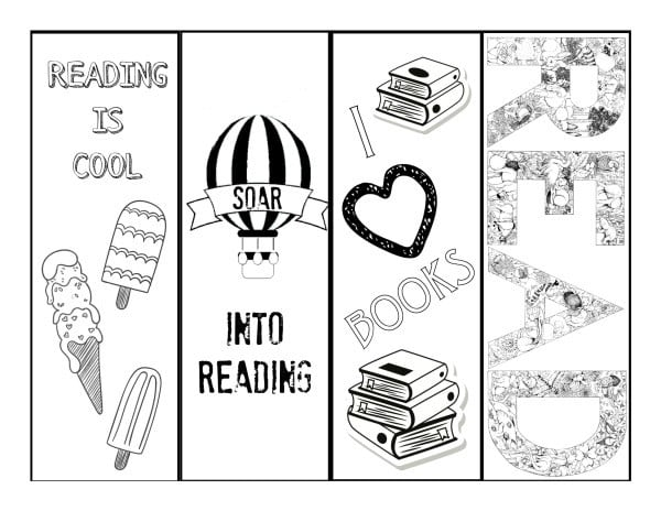 Summer Reading Bookmarks B&W
