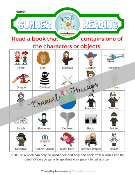Character or Object Summer Reading Chart -Read a book that contains one of the characters or objects on the chart then mark that spot off. The only rules are a book can only be used once and only one book from a series can be used. What a great idea to expand your kids' reading list right?