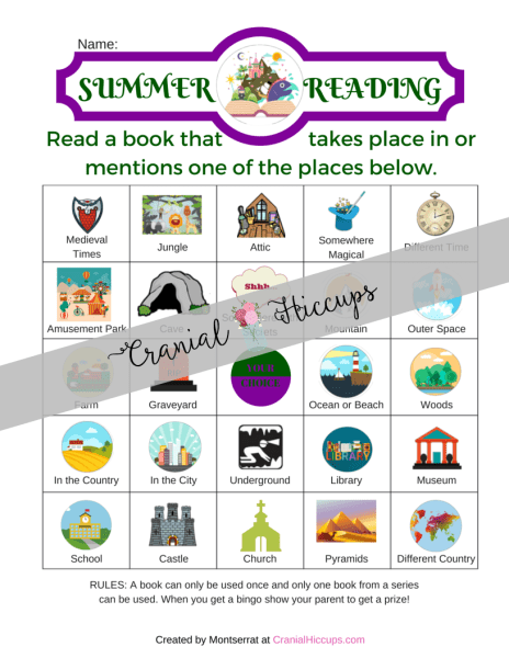 Place or Time Summer Reading Charts- Another fun and different summer reading chart. The kids have to read a book that contains one of the characters or objects in the Summer Reading chart. When they get a bingo they get a special prize that you decide. The only rules are a book can only be used once and only one book from a series can be used. What a great idea to expand your kids' reading list right?