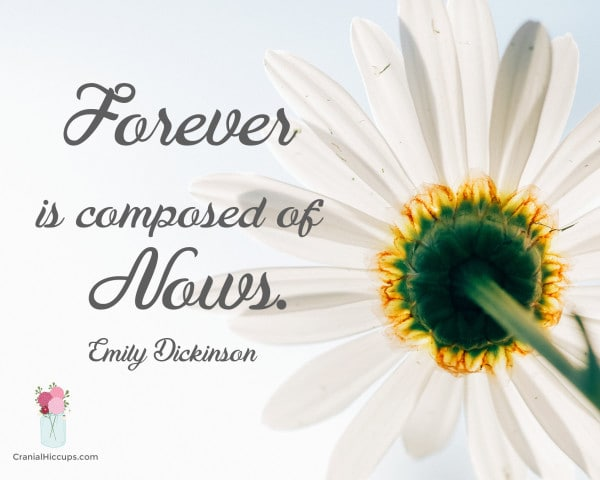Forever is composed of Nows. Emily Dickinson