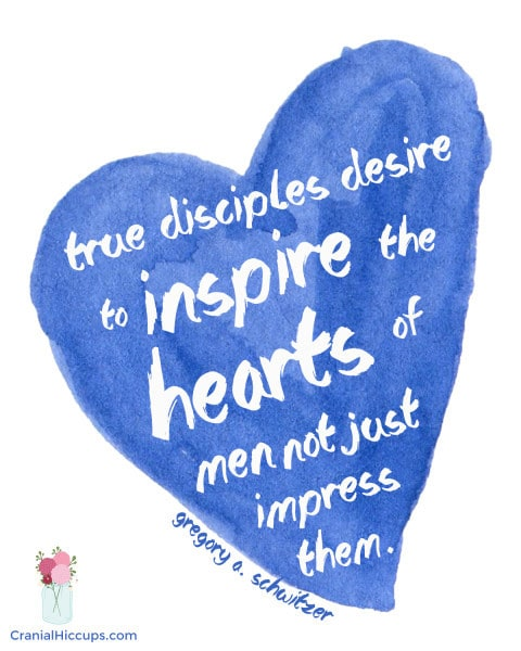 True disciples desire to inspire the hearts of men, not just impress them. Gregory A. Schwitzer #LDSConf #ElderSchwitzer