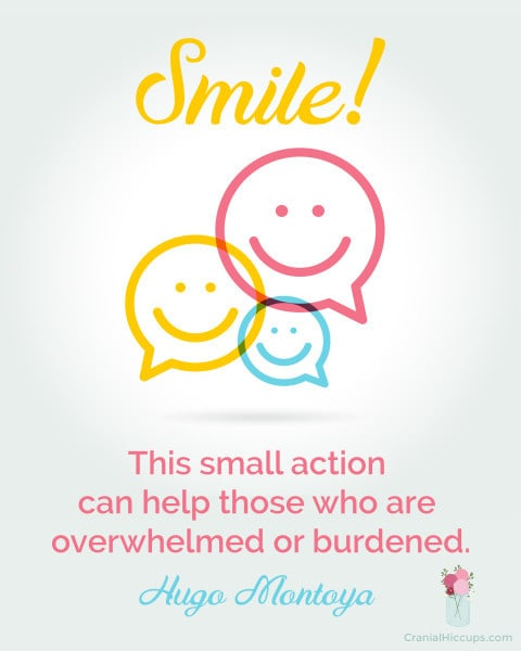 Smile. This small action can help those who are overwhelmed or burdened. Hugo Montoya #LDSConf #ElderMontoya