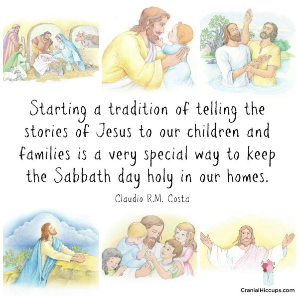 "The Sabbath and the sacrament become much more enjoyable as we study the stories of Christ,"" he said. ""In so doing, we create traditions that build our faith and testimony, and also protect our family. Claudio RM Costa #LDSConf #ElderCosta"