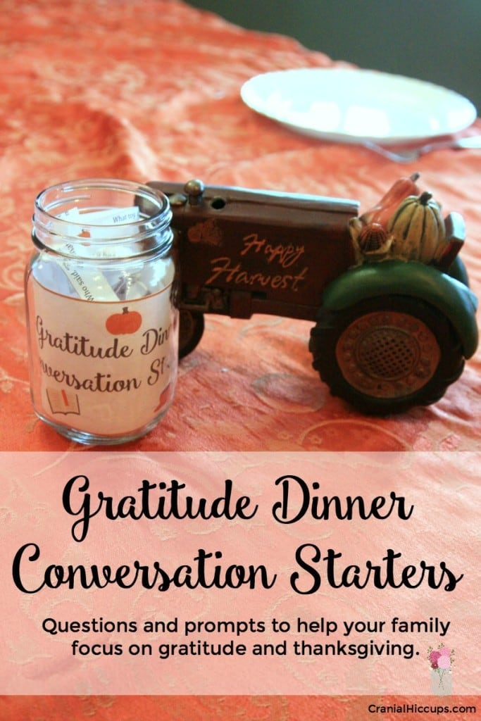 These Dinner Conversation Starters will get your family talking more about gratitude and help you focus on giving thanks.