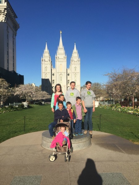 Kids in front of temple