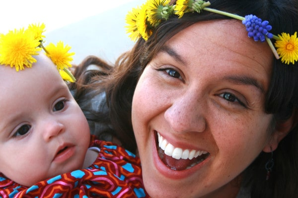 Julie and Mom dandelion crowns