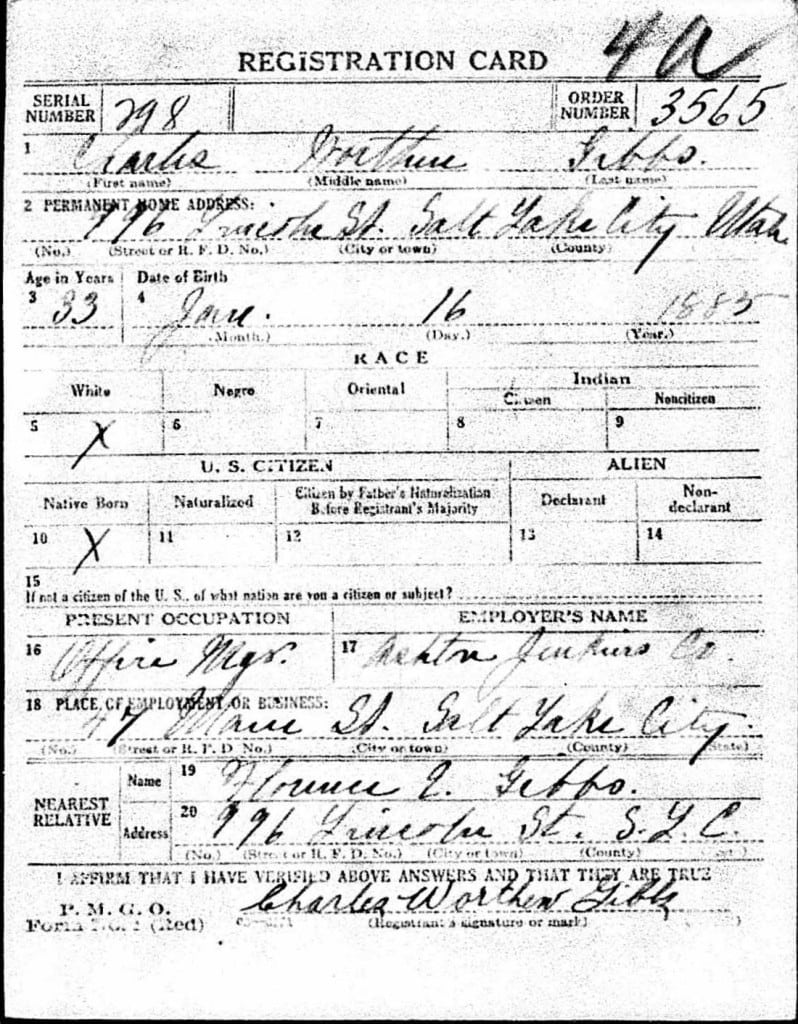 Charles Worthen Gibbs WWI draft card front