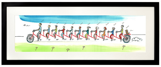 personalized family tandem bike ride print from uncommon goods