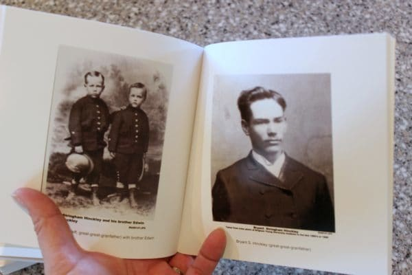 inside of chatbook with ancestor photos