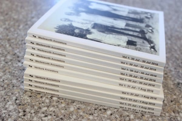 stack of chatbooks with ancestor photos