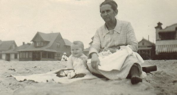 Betty Gibbs (baby, great-grandmother) with Matie Salisbury (3rd great-grandmother) at the beach