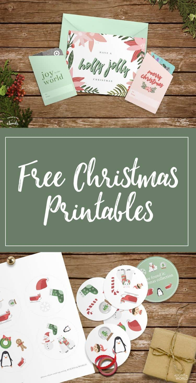 Free Christmas Printables - coloring pages, greeting card, gift card holders, and Eye found it game #LIGHTtheWORLD