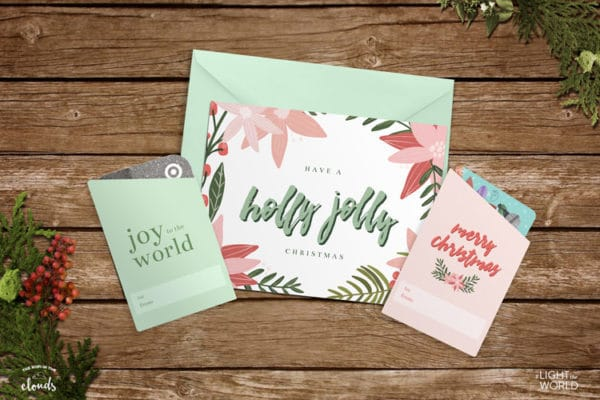 Free Christmas greeting card and gift card holders