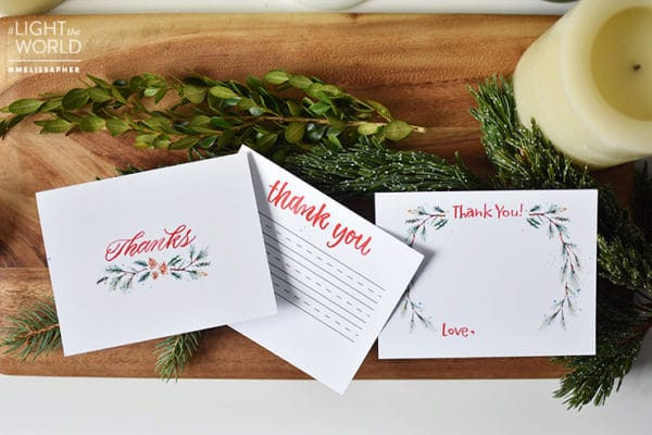 Three different types of thank you notes for your family to use. Created by Melissa Esplin