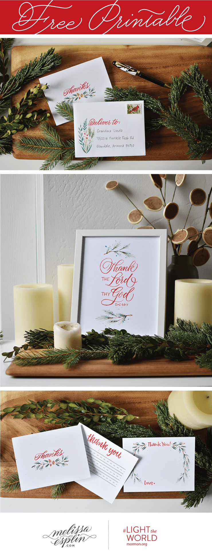 Free thank you cards, envelope, and Thank the Lord print from Melissa Esplin. #LIGHTtheWORLD