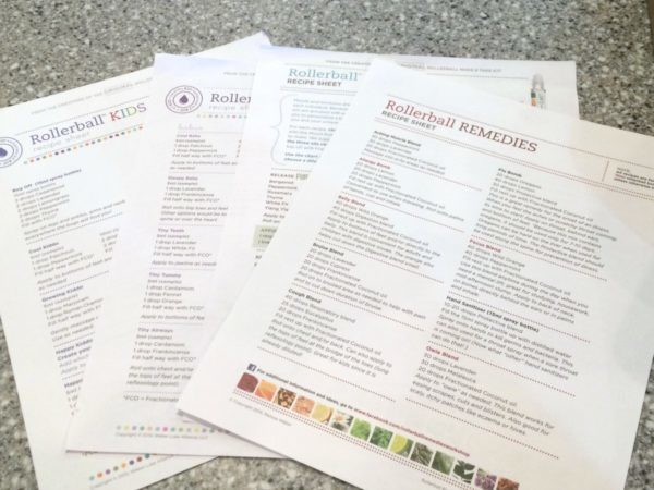Rollerball Make and Take recipe sheets