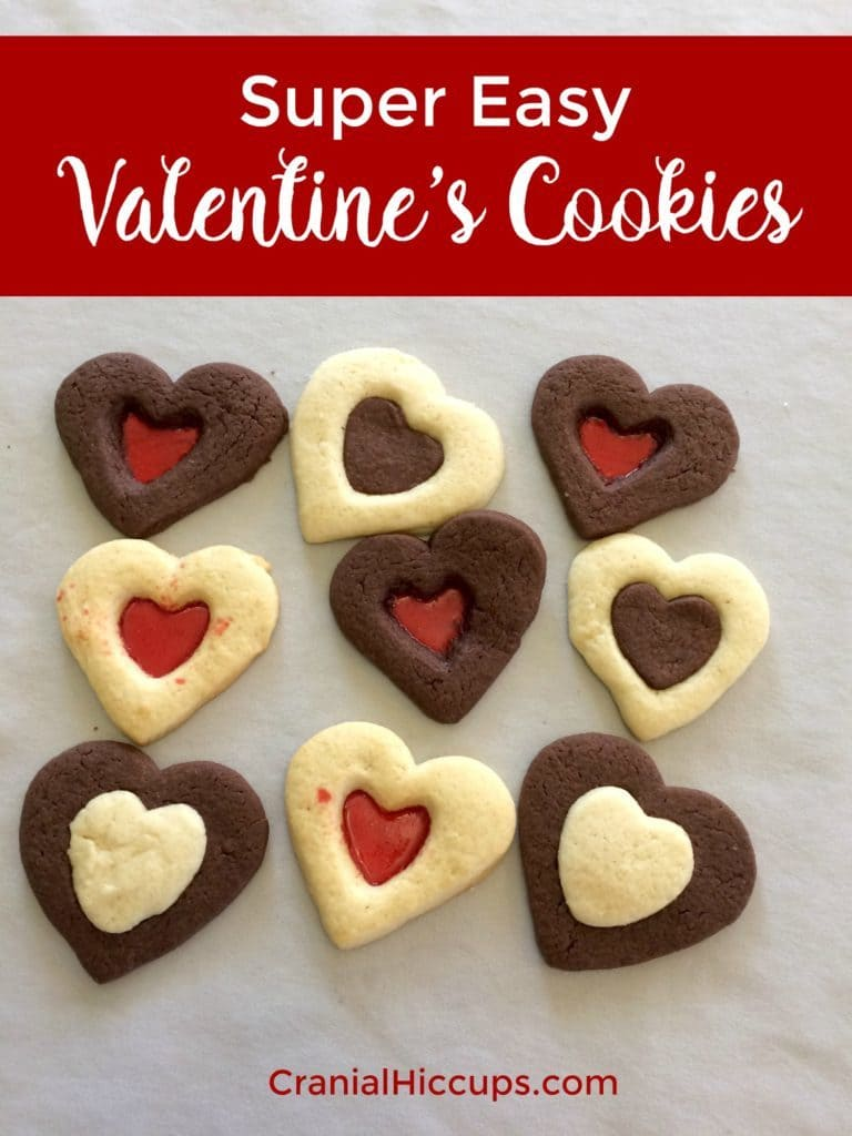 Super easy Valentine's cookies made with regular and chocolate sugar cookie dough!