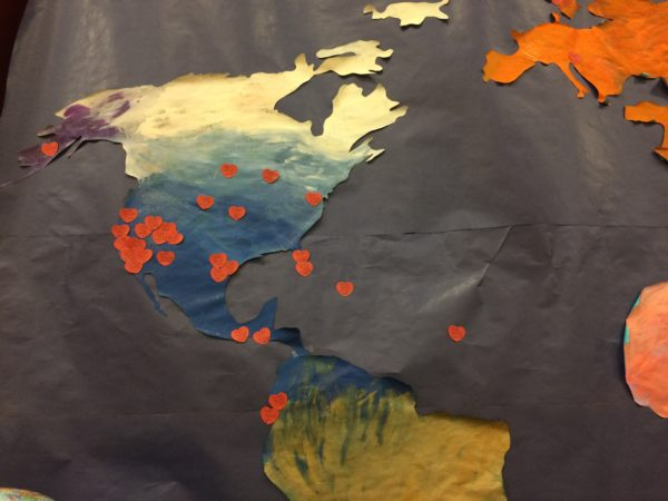 hearts showing where women have served missions